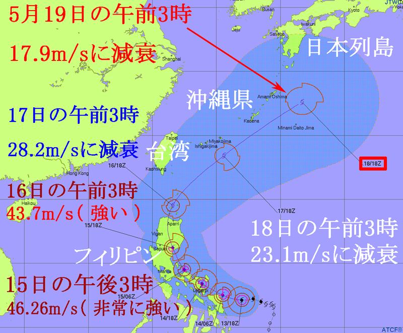 台風1号の米軍JTWC進路予想図