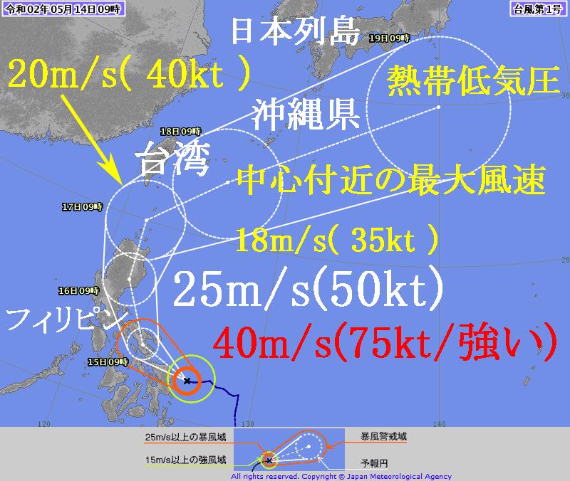 2020年の台風第1号の気象庁の進路予想図