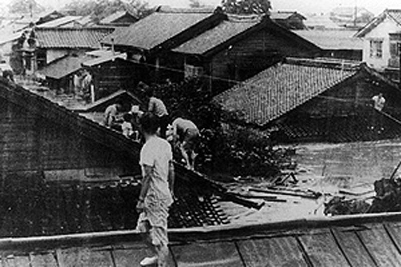 1965年の須磨川の氾濫状況