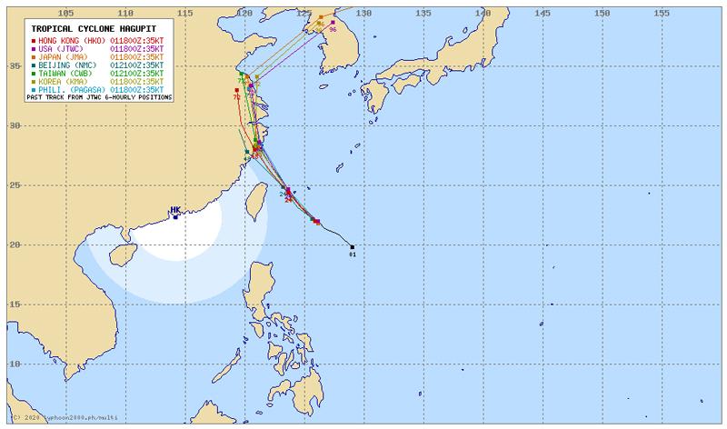 台風4号ハグピートのマルチエージェンシー比較