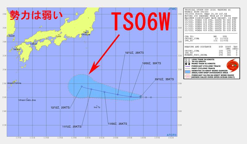 台風6号たまごTS06Wの進路予想図