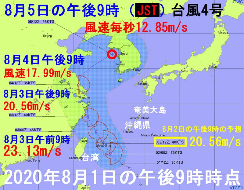 台風4号ハグピート2020米軍JTWC進路予想図