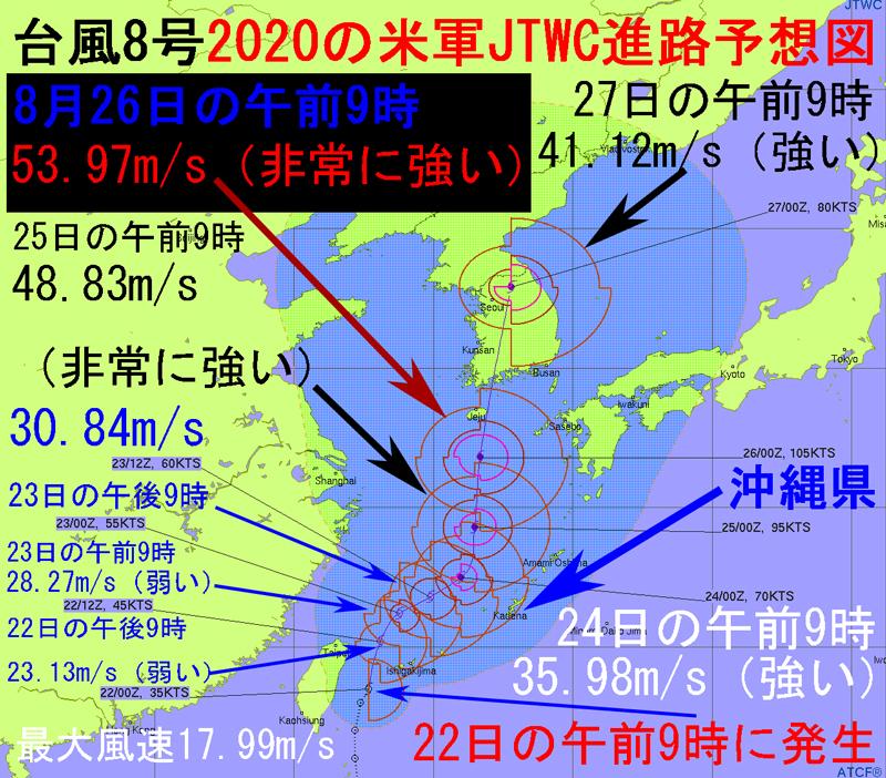 米軍JTWCの8号2020年の進路予想図