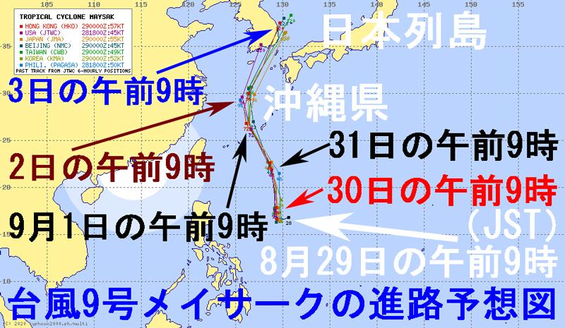 台風9号2020年の7つの気象機関の進路予想図