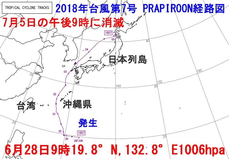 台風7号2018プラピルーン経路図