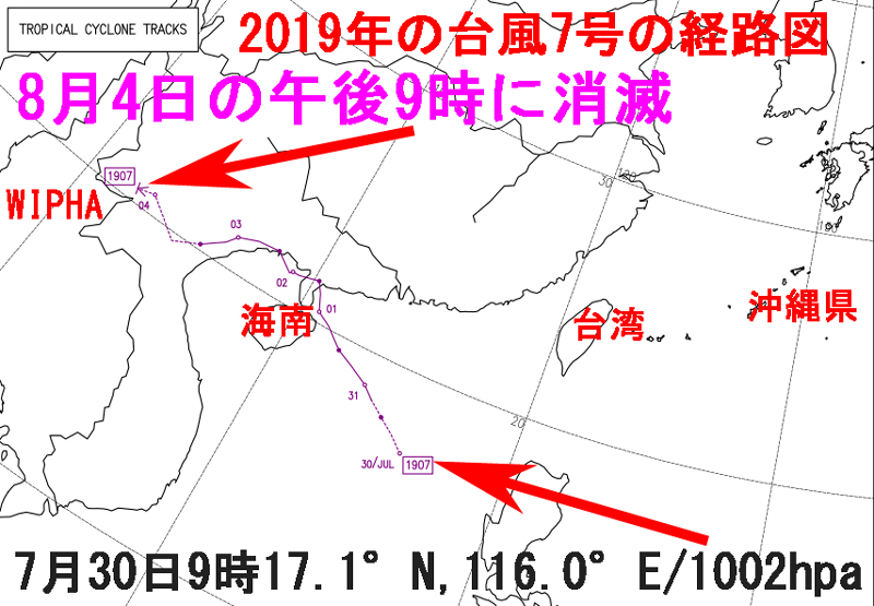 2019年の台風7号の経路