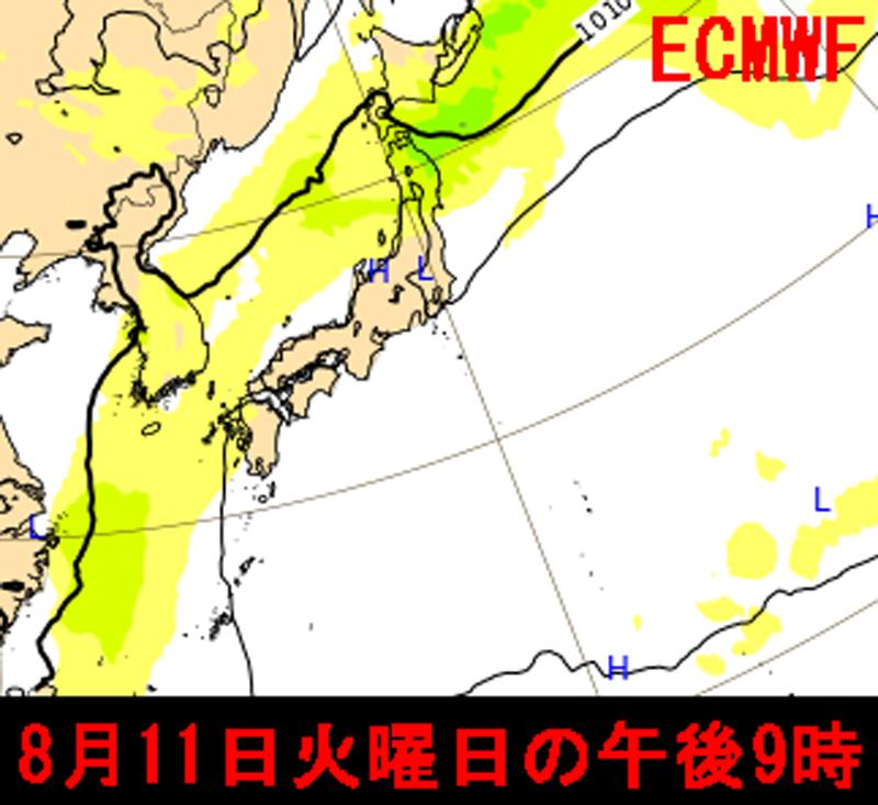 台風5号2020ECMWF8月11日の海面気圧配置
