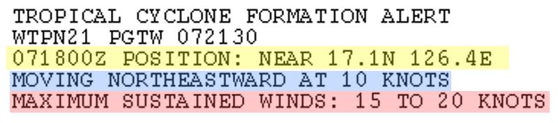 米軍JTWC台風5号テキスト警告たまご