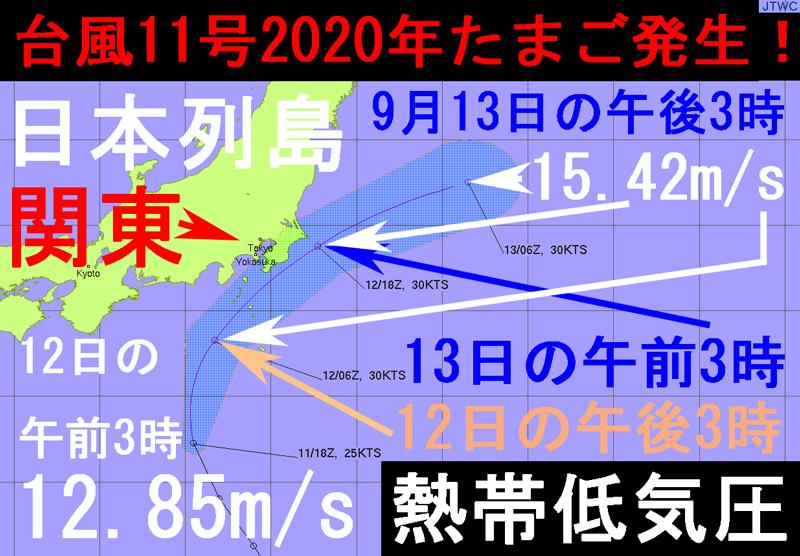 11号2020たまごJTWC熱帯低気圧の進路予想図