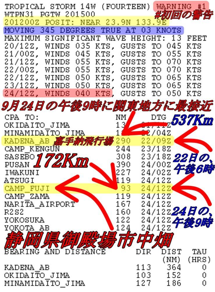 台風12号2020年の初回の警告文