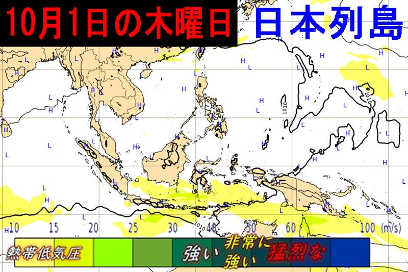 ECMWF2020年10月1日の気圧配置図