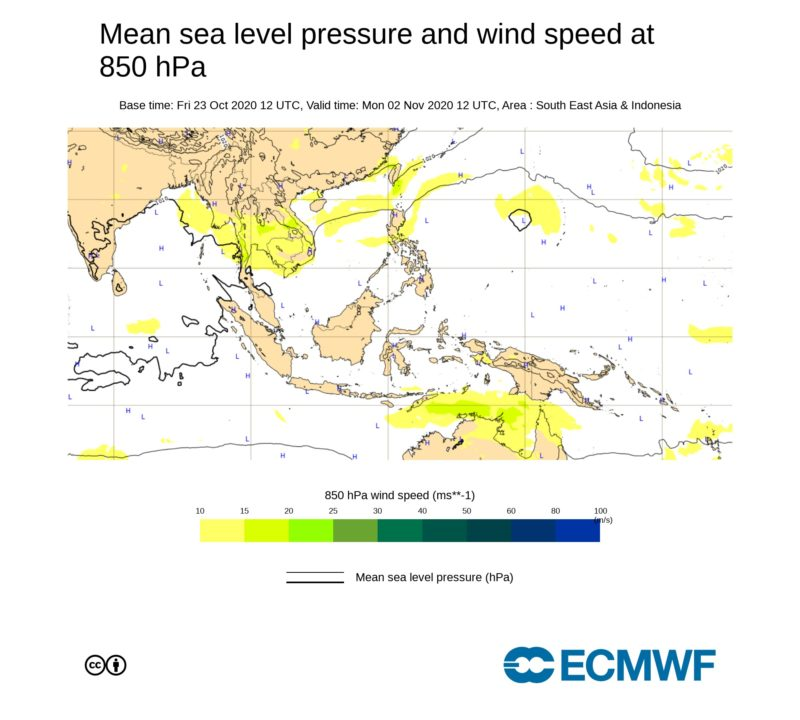 ECMWF2020年11月2日の午後9時の気圧配置図