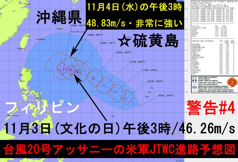 米軍JTWC台風20号2020進路予想図