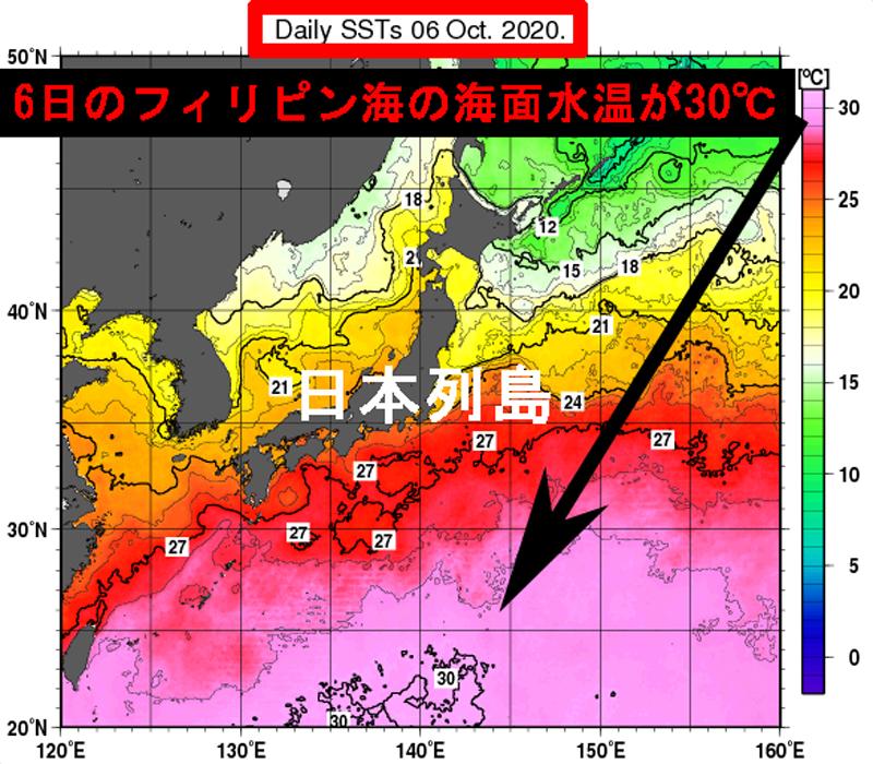 フィリピン海10月6日の海面水温が30℃と高温