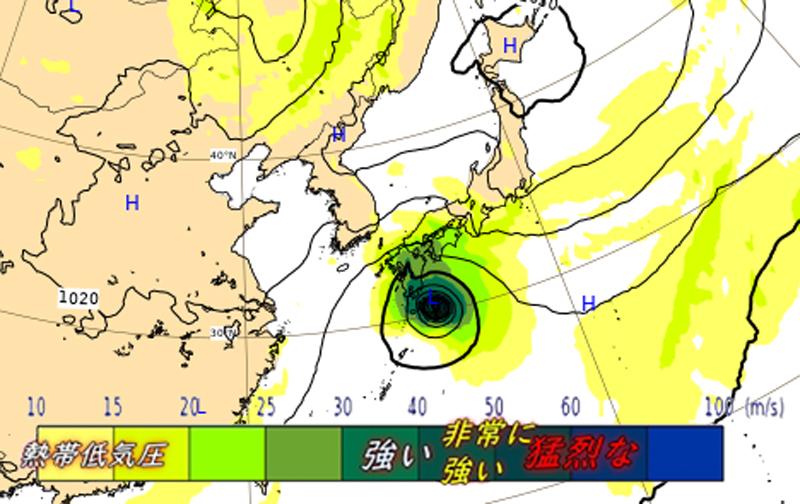 ECMWF10月9日の午後9時に非常に強い台風14号が九州地方へ