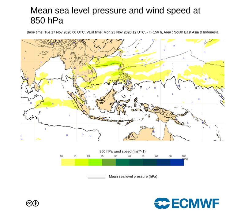 ECMWF台風23号2020年11月23日の午後9時