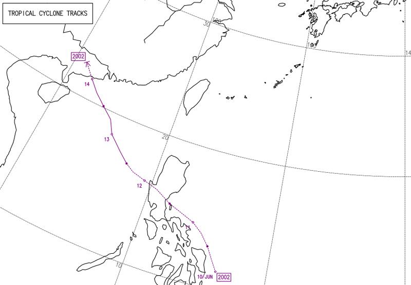気象庁2020年の台風2号ヌーリの経路図