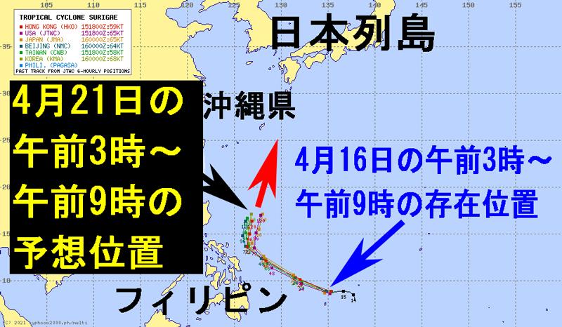マルチエージェンシー台風2号の進路予想図