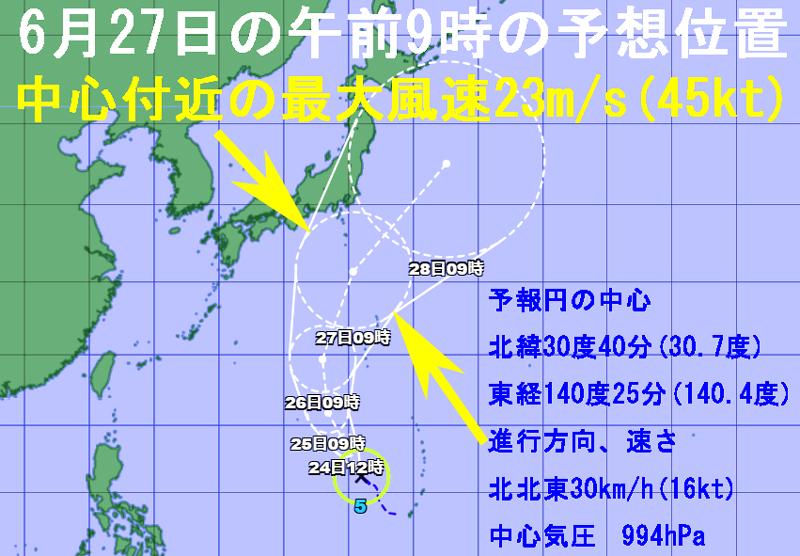 気象庁6月27日の午前9時の予想位置