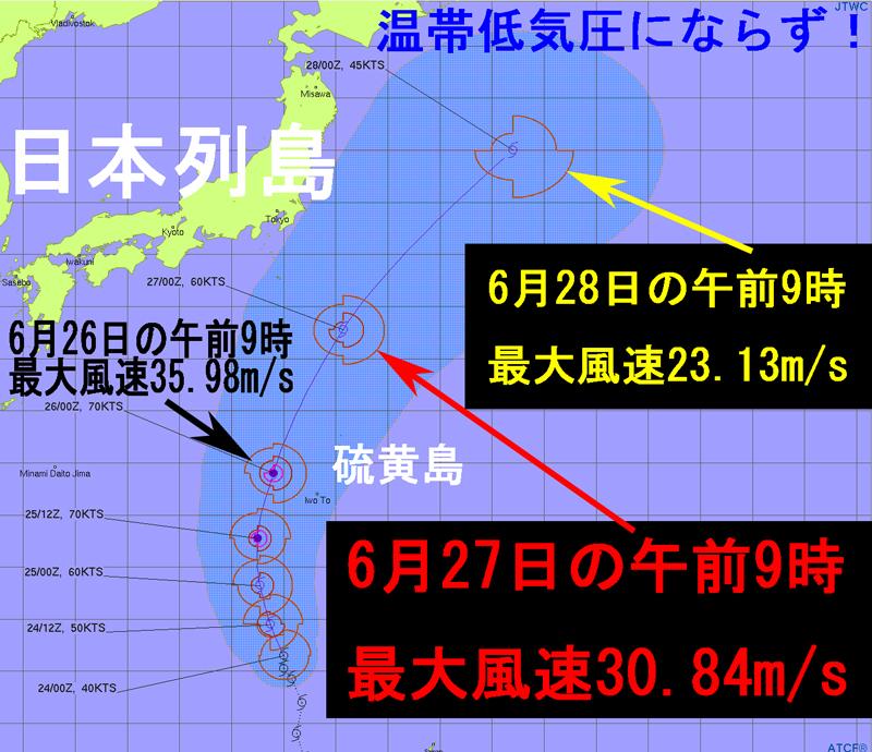 2021年6月24日の米軍JTWC進路予想図