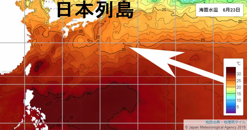 日本列島近海の海面水温