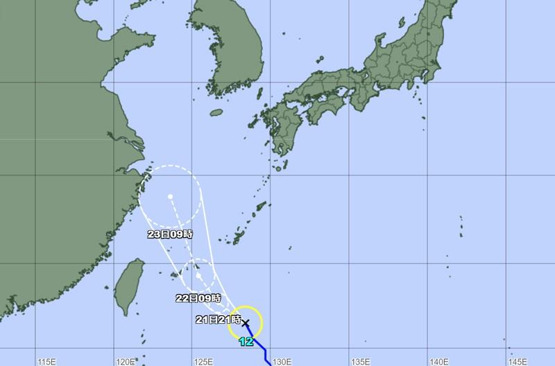 気象庁の台風12号の進路予想図