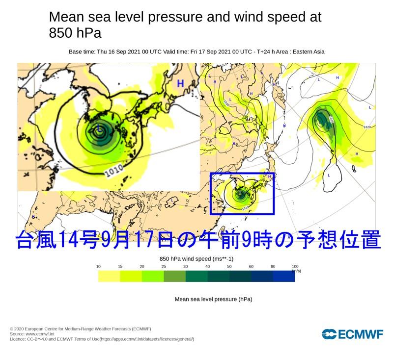 ヨーロッパ中期予報センター台風14号2021年